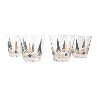 Black & Gold Lowball Glasses - Set of 4