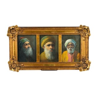 Carl Calusd 19th Century Oil Painting Triptych