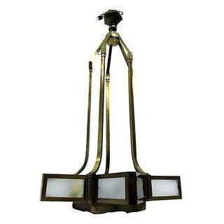 French Art Deco Bronze Chandelier
