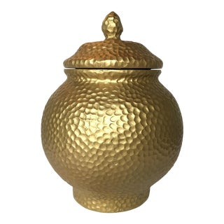 Carved Gold Lidded Urn