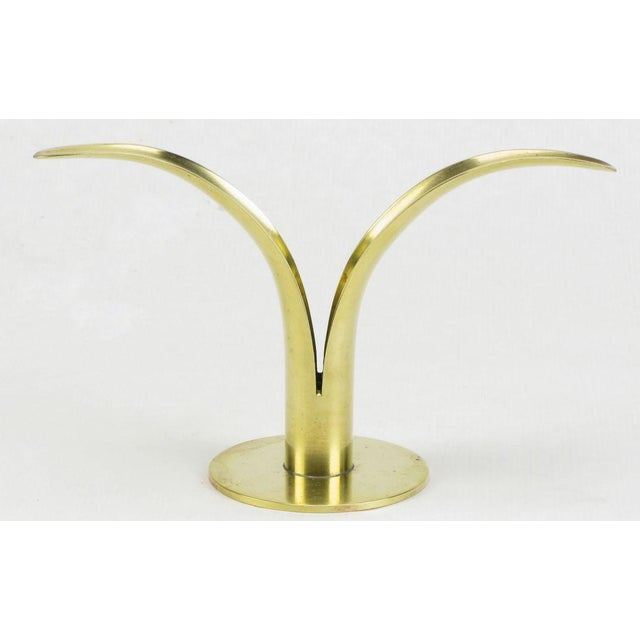 Image of Four Ystad Of Sweden Brass Open Leaf Candlesticks