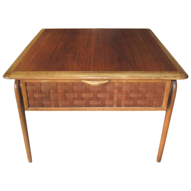 High Quality Lane Mid Century Modern Basket Weave Front Side Table