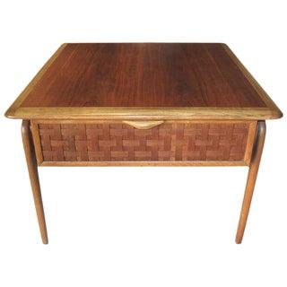 Lane Mid-Century Modern Basket Weave Front Side Table