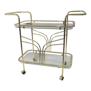 Mid-Century Gold Metal Bar Cart