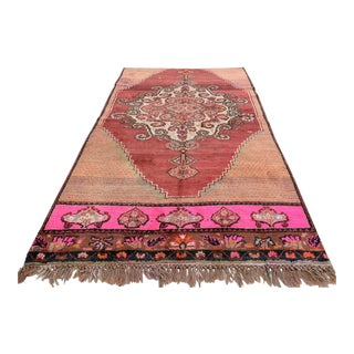 Pink Vintage Turkish Hand Knotted Rug - 5'4 X 9'5