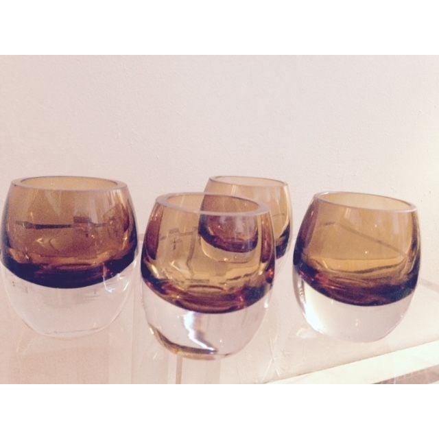Blown Glass Amber Cognac Glasses - Image 4 of 6