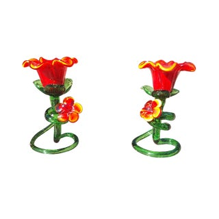 Red & Green Italian Venitian Murano Candlesticks - A Pair