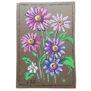 Pink Daisies Watercolor by E. Pell