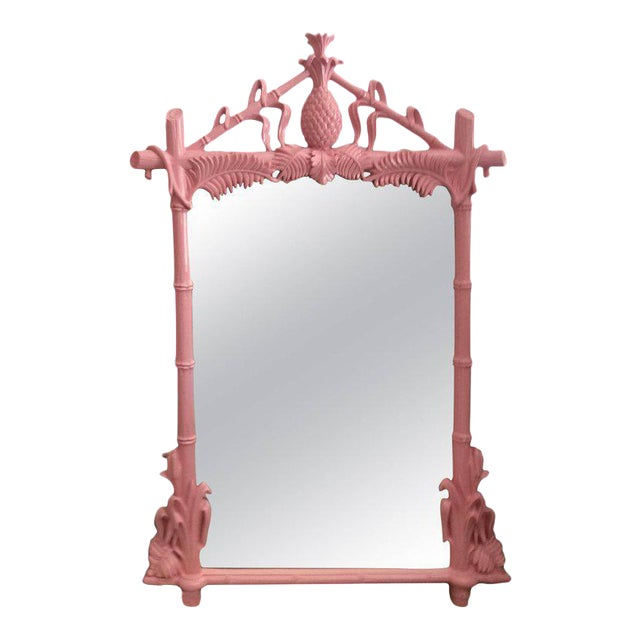 Gampel & Stoll Lacquered Flamingo Pink Faux Bamboo Wall Mirror - Image 1 of 10
