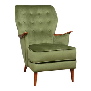 Scandinavian Green Velvet Wingback Chair