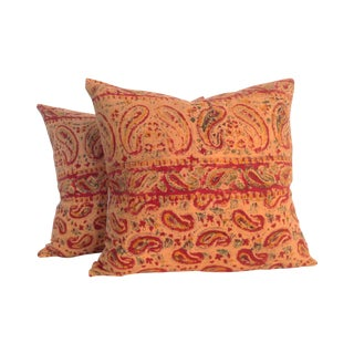 Vintage Block Printed Kantha Quilt Pillows - Pair