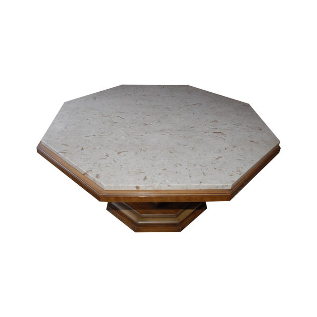Distinctive Octogonal Marble-Top Cocktail Table - Image 1 of 6