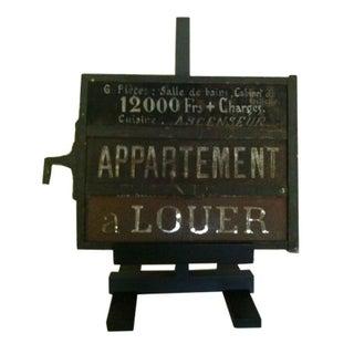 Vintage Black & White French Apartment Sign