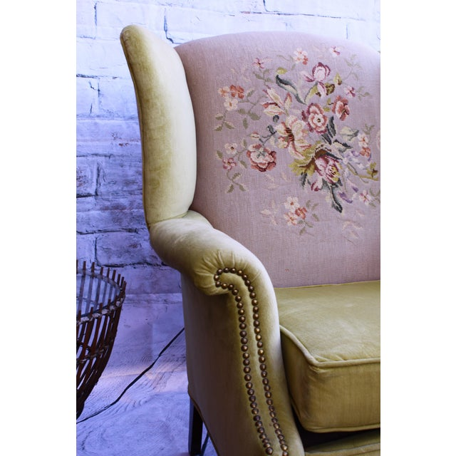 Huge Antique Velvet & Needlepoint Wingback Armchair - Image 6 of 11