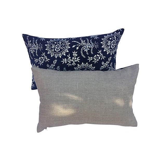 Antique Floral Indigo Batik Pillows - A Pair - Image 5 of 5