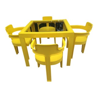 Vintage 1970's Space Age Danish Yellow Abs Plastic Table & Chairs