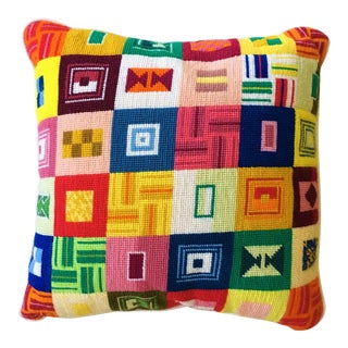 Mid-Century Geometric Wool Needlepoint Pillow