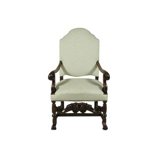 Early 20th Century Hand Carved Baroque-Style Black Walnut Arm Chair