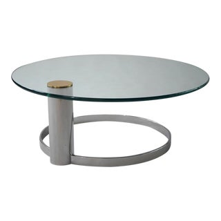Pace Chrome, Brass and Glass Cocktail Table
