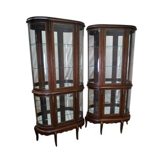 French Louis XV Style Mahogany & Curved Glass Tall Vitrine Cabinets- A Pair