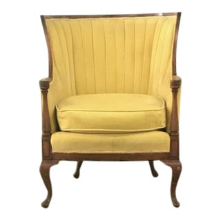 Antique Canary Yellow Velvet Wingback Chair