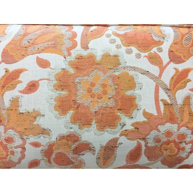 Mid Century Modern Milo Baughman Style Orange Indian Print Upholstery Plinth Base Sofa - Image 7 of 9
