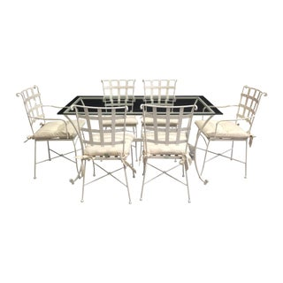 7-Piece White Iron Garden Dining Set