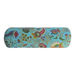 Turquoise Kantha Bolster Pillow