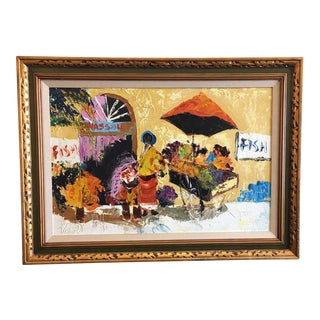 """Paul Blaine Henrie """"Nassua Flower Seller"""" Original Oil Painting"""