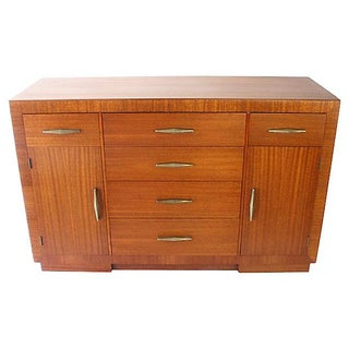 1940s Modernist Transitional Mahogany Credenza