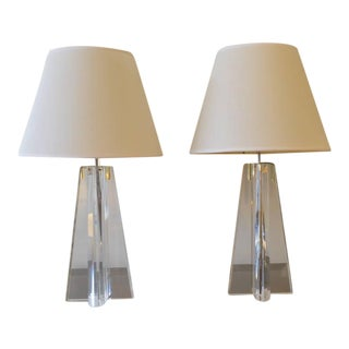 Pair of Les Prismatiques Lucite Table Lamps