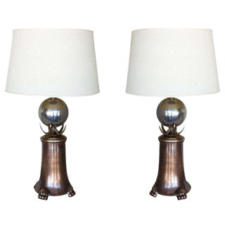 Pair of Brass & Polished Nickel Table Lamps