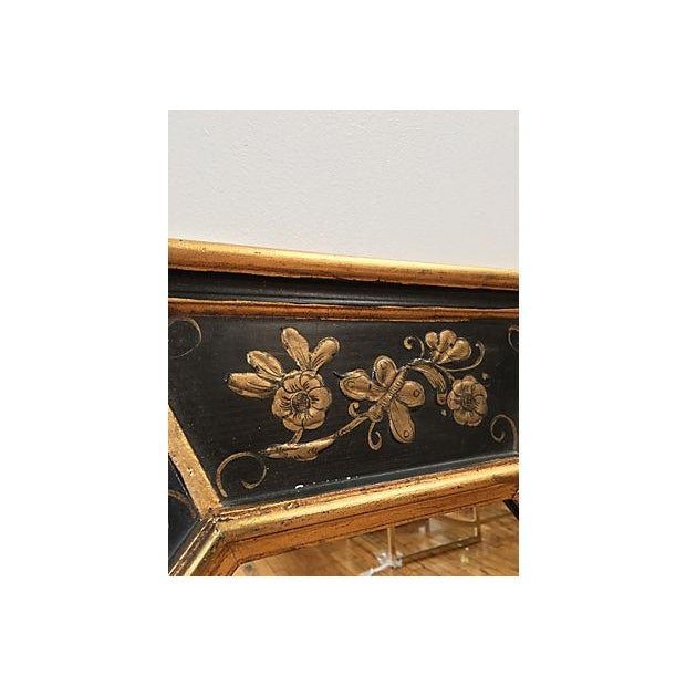 La Barge Vintage Hand Painted Black Gilded Mirror - Image 5 of 8
