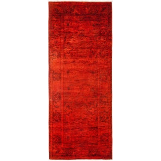 Red Over-Dyed Hand Knotted Runner - 3' X 7'10""