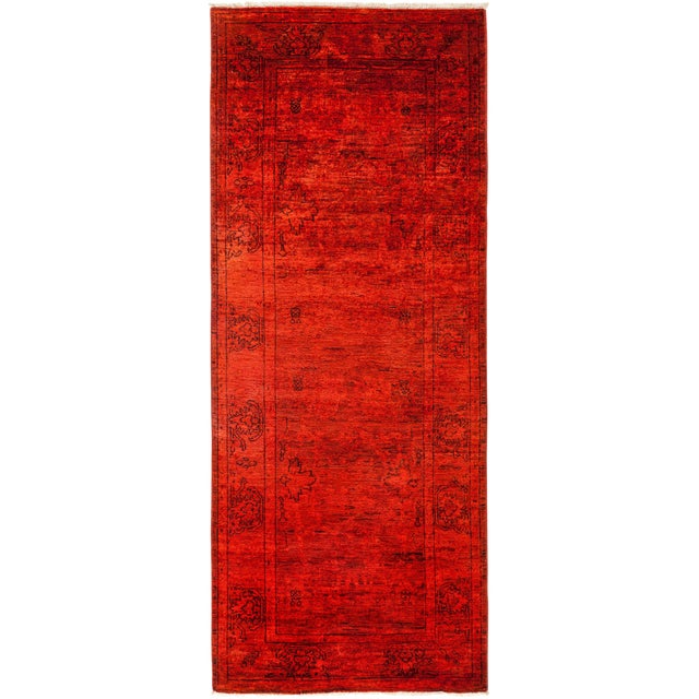 """Red Over-Dyed Hand Knotted Runner -- 3' X 7'10"""" - Image 1 of 3"""