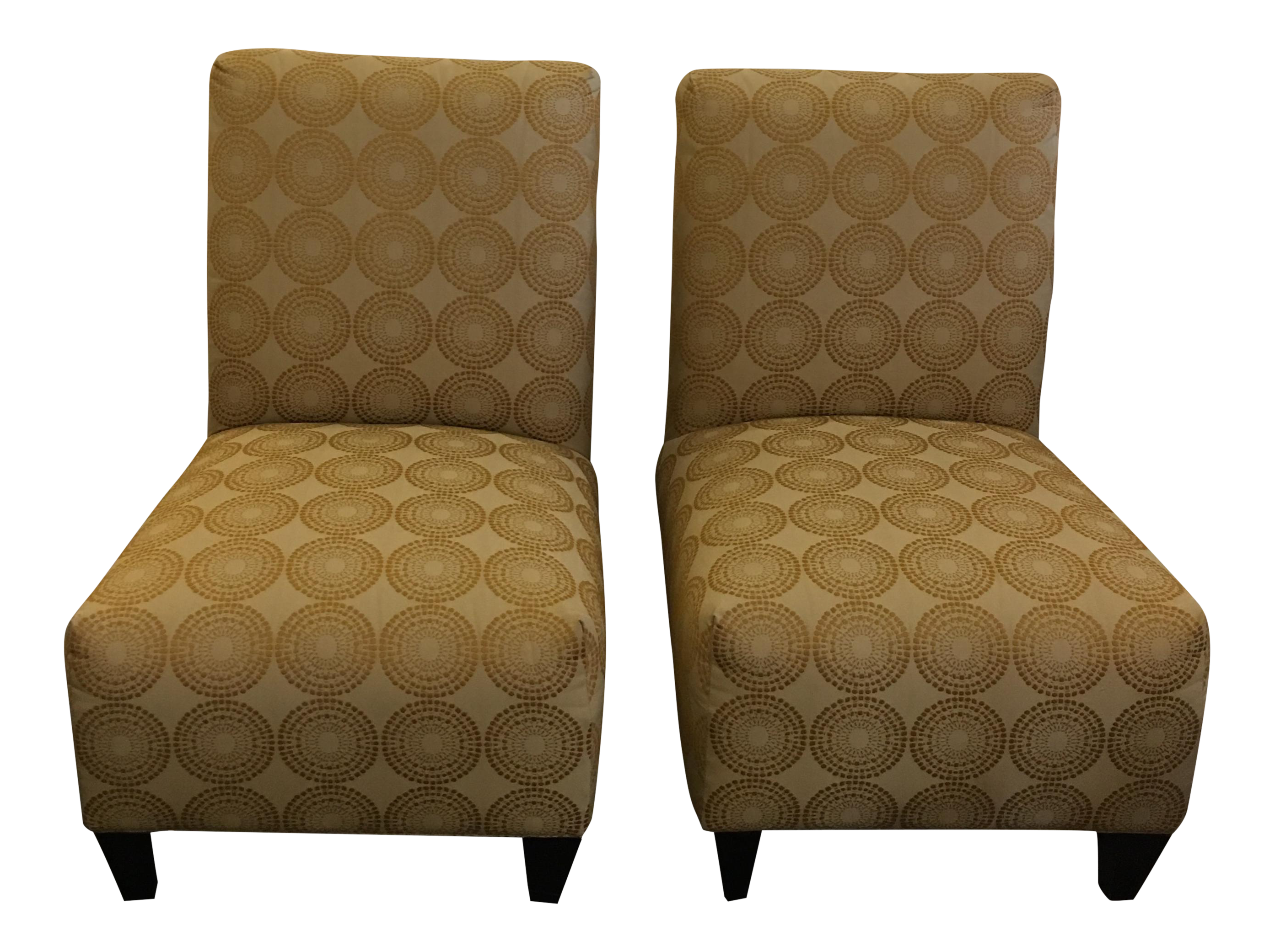 Gold Upholstered Accent Chairs A Pair