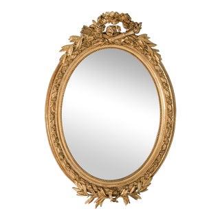 Antique French Louis XVI Style Oval Mirror circa 1890