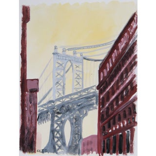 Manhattan Bridge New York Abstract Painting by Cleo