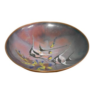 Mid Century Hand Painted Copper Fish Dish