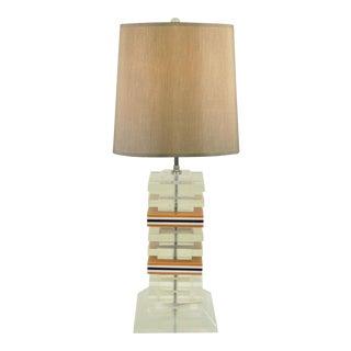 Vintage Mid Century Modern Stacked Lucite Skyscraper Table Lamp Karl Springer