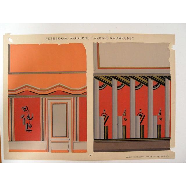 Deco interior pochoir in orange 1929 chairish - Deco room oranje ...