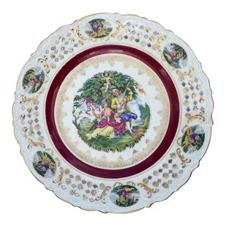 Napco Dresden Style Hand Painted Decorative Display Platter