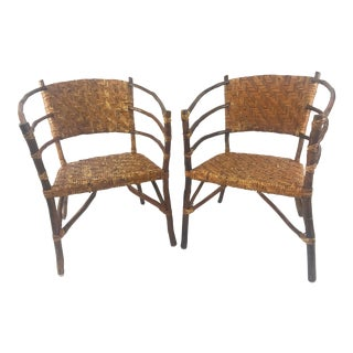 Vintage Barrel Backed Hickory Hoop Arm Chairs - A Pair