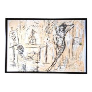 """""""Chronique d'Un Voyeur IV"""" Nude Lithograph by Serge Kantorowicz"""