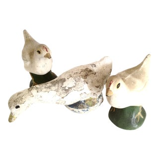 Vintage Concrete Sculptural Garden Birds- Set of 3