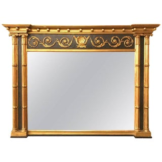 Hollywood Regency Style over the Mantel Mirror with Gilt and Ebony Finish