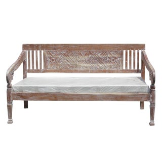 Boho Whitewashed Floral Carved Daybed