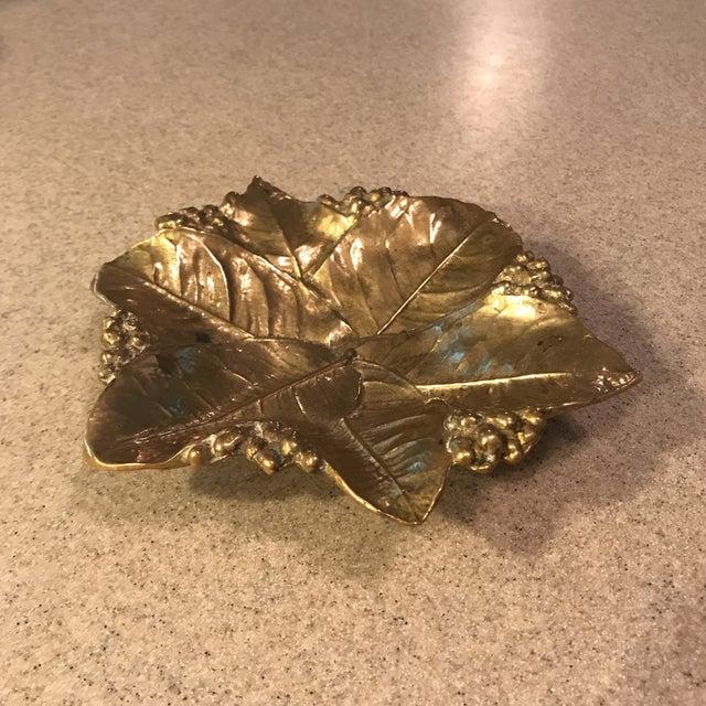 Virginia Metal Crafters Brass Lemon Leaves Tray - Image 3 of 9