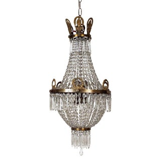 1950s Cut Glass Regency Style Chandelier