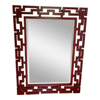 Asian Style Red Laquer Mirror